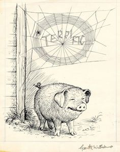 Charlotte's Web by E. Illustration from Charlotte's Web by Garth Williams Garth Williams, Good Books, My Books, Charlottes Web, Children's Book Illustration, Book Illustrations, Illustration Animals, Children's Literature, Beatrix Potter