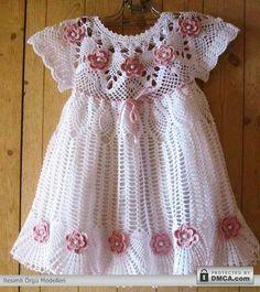 Beyaz yazlık örgü çocuk elbise modelleri