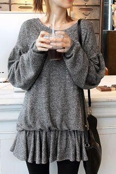 Bat-wing Sleeve Peplum Sweatshirt. Don't really like the idea of 'bat-wing' but I'm loving the style!