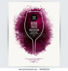 Design Template list, wine tasting or invitation. Illustration glass of wine…
