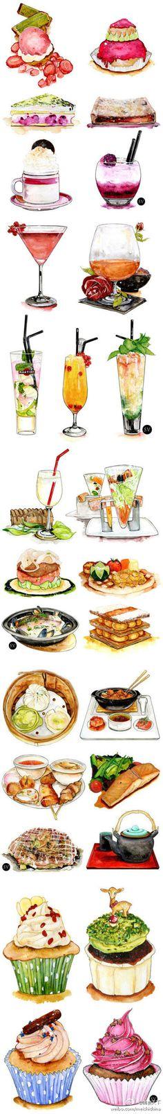 各类美食的形态与色彩,都被巧妙的笔尖细腻地表达着,食欲充分被调动起来了