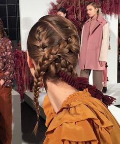 "Barneys New York on Instagram: ""Intricate braids and ""unabashedly"" feminine ruffles @ullajohnson #NYFW"""
