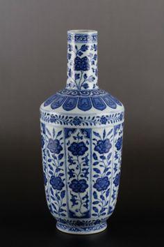 "18th C. Chinese Blue & White Vase, Under Glazed Qianlong Mark Dimension: 12 1/8""H"