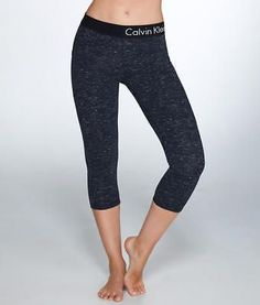 Calvin Klein Logo Waistband Crop Jersey Leggings Activewear - Women's #PF7P9234