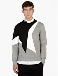 Neil Barrett Grey Neoprene 'Kaboom' Panelled Sweatshirt | oki-ni
