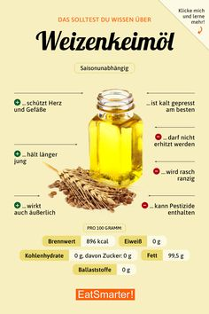 Weizenkeimöl You should know that about wheat germ oil! Health Snacks, Health Eating, Healthy Diet Plans, Diet Meal Plans, Vitamin C Foods, Wheat Germ, Daily Health Tips, Eat Smart, Food Facts