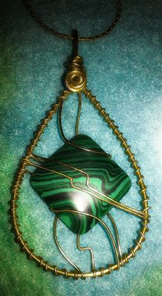 Green Malachite wire wrap Pendant #freeshipping #bazaarsrus #handmade #wirewrap #jewelry