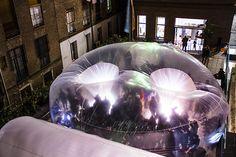 Inflables, intervención urbana en el IED Madrid con Marco Canevacci Temporary Architecture, Outdoor Buildings, Wind Sculptures, Exhibition Display, Installation Art, Art Installations, Land Art, Public Art, Pavilion