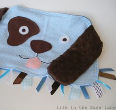 Cuddly Minky PUPPY DOG in Chocolate Brown and Blue Ribbon Tag Blankie Blanket Lovey Lovie