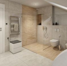 Ebenerdige Dusche badezimmer-fliesen-holz-steinoptik-glaswand