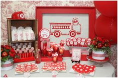 Girl's Firetruck 4th Birthday Party! on http://pizzazzerie.com...could so easily be used for a boy with minor tweaks! Love it!!