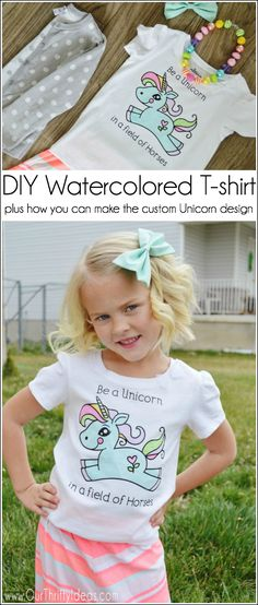 DIY Watercolored T-shirt Tutorial - plus how you can make the custom Unicorn design! Crafts To Make, Easy Crafts, Crafts For Kids, Princess Silhouette, Silhouette Cameo, T Shirt Tutorial, Little Girl Birthday, Space Crafts, Craft Space