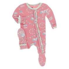 d91e22995 KicKee Pants Little Girls Print Muffin Ruffle Footie with Snaps -  Strawberry Carnival