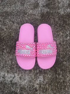 31118ad18b5ddb Pink Nike Bling Slides - Girls - Bedazzled - Custom slides - Youth ...