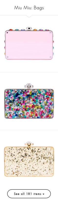 """Miu Miu: Bags"" by livnd ❤ liked on Polyvore featuring bags, miumiu, livndbags, livndmiumiu, handbags, clutches, miu miu, miu miu purse, pink purse and multi colored purses"