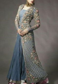 Pakistani Asian Wedding Bridal Dress - Bridal Dresses on Nameera by Farooq, Bridal Maxi with Pearl Nagh Dabka and Zari Silver and Grey Color. Plain Dress, The Dress, Dress Long, Indian Gowns, Indian Outfits, Gilet Long, Pakistani Bridal Dresses, Bridal Anarkali Suits, Party Wear Dresses