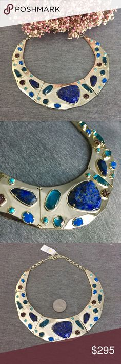 NWT Kendra Scott Mira Lapis Mosaic Collar This gorgeous necklace is your own set of crown jewels! With beautifully polished pieces of blue lapis, teal agate, agate drusy, crystal and magnesite all set in 14k gold you can add a jeweled collar to any outfit! Add to your collection, or start a new one! Perfect condition, never worn! Kendra Scott Jewelry Necklaces