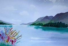 Loch Lochy, Scottish highlands, painted in Brusho. Brusho is a powder paint and I have used as a watercolour on this painting, with platter flowers in the foreground. Size with out mount is approx 14 x x Size with soft white mount is approx 20 x Powder Paint, Brusho, Paint Supplies, Scottish Highlands, Great Gifts, Awesome Gifts, Landscape Paintings, Watercolor, Mountains