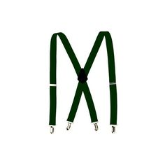 Elastic Adjustable Clip Suspenders Forest Green SUP017 ($8.50) ❤ liked on Polyvore featuring accessories and suspenders