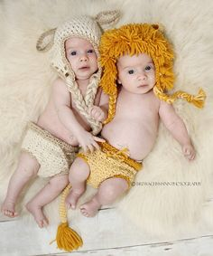 Lion and Lamb hat and diaper cover twin set- Made to Order- Any size