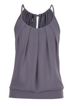 the tank with pleated chiffon front in gray - maurices.com