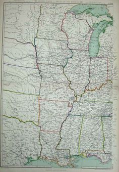 1872 Blackie Geography Maps States America Mississippi