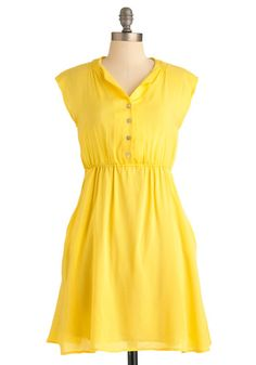 Marigold-en Girl Dress - Yellow, Solid, Buttons, Pockets, Casual, A-line, Sleeveless, Spring, Summer, Mid-length