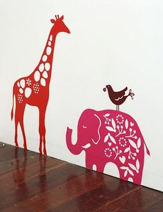 Giraffe, Elephant and Birdie Decals: I love these decals, especially the giraffe.  Pinned from the futureshelter blog - written by Pinterest member Jane King!