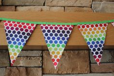 Fabric Banner - Fabric Bunting - Rainbow Dots St. Patrick's Day  by monkeyandlamb on Etsy