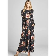 ef708e5765b FloryDay   Floral Pockets Tshirt Maxi Shift Dress (1955333662)