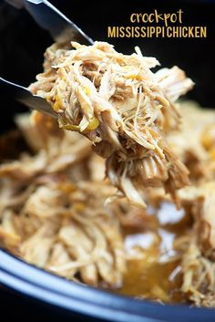 Lower Excess Fat Rooster Recipes That Basically Prime Crockpot Mississippi Chicken Just Toss It In The Slow Cooker And Walk Away Shred This Chicken Up For Sandwiches Or Serve It Over Pasta Or Mashed Potatoes. Crock Pot Slow Cooker, Crock Pot Cooking, Slow Cooker Recipes, Cooking Recipes, Heart Healthy Crockpot Recipes, Slow Cooker Shredded Chicken, Crockpot Chicken And Potatoes, Chicken Cooker, Crockpot Chicken And Stuffing