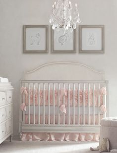 RH Baby & Child's Washed Appliquéd Fleur Nursery Bedding Collection:A texture-rich composition of gathers and blooms, created using ruching and appliqués on airy cotton voile, gives our bedding a decidedly feminine feel. Luxury Nursery, Chic Nursery, Baby Girl Nursery Bedding, Nursery Gray, Nursery Decor, Bedroom Decor, Baby Crib Bumpers, Baby Cribs, Restoration Hardware Nursery