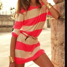 Bright stripe and gold accessories