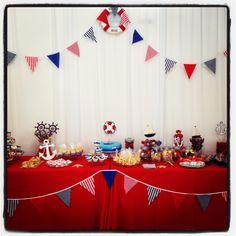 Nautical theme party dessert table!!
