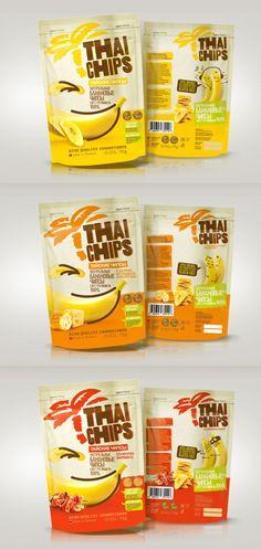 Thai Banana Chips Packaging Design on Behance Chips Packaging, Packaging Snack, Pouch Packaging, Food Packaging Design, Packaging Design Inspiration, Brand Packaging, Product Packaging Design, Simple Packaging, Product Design
