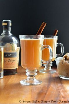 Hot Apple Cider Buttered Rum Cocktails are perfect for the holidays. serenabakessimplyfromscratch.com