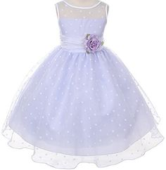 Lavender Organza Special Occasion Dress with White Polka Dots Girls - 10 Color: Lavender w/White Dots Size: 10 NewBorn, Kid, Child, Childern, Infant, Baby   - Click image twice for more info - See a larger selection of little girl special ocassion dresses at http://girlsdressgallery.com/product-category/special-occasion-dresses/- kids, toddler, kids dresses, little girls, dress, gown, little girls fashion, gift ideas, flower girl, wedding, party dress