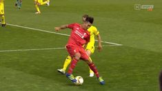 Liverpool's Brazilian Roberto Firmino Barbosa de Oliveira's magical skill vs Villareal's Soldado in his blue adidas Ace 16.1.  Buy yours here for £73.95 at Galaxy Sports online.   100% Authentic Worldwide Shipping