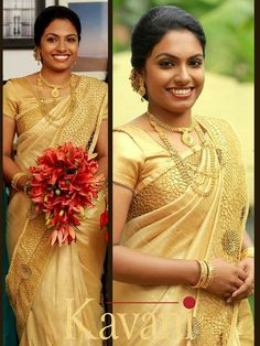 Elegant Design Wedding Saree Click visit link for more details Christian Wedding Sarees, Christian Bride, Wedding Sari, Wedding Pics, Wedding Dresses, Christian Weddings, Wedding Gold, Wedding Ideas, South Indian Bride