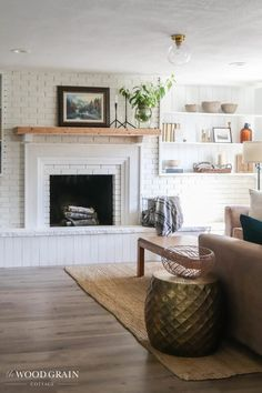 I'm sharing our brick fireplace makeover. What was once a really dated fireplace, is now updated and fresh thanks to paint and new trim work. French Country Farmhouse, Cottage Farmhouse, Shabby Chic Cottage, Cottage Style, Rustic Farmhouse, Brick Fireplace Makeover, Fireplace Ideas, French Decor, French Country Decorating