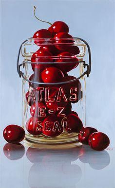 realistic painting, cherries in Atlas canning jar, Harry Jarman