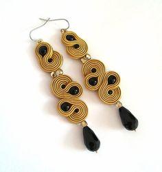 Golden earrings black earrings drop earrings boho by anatydesign