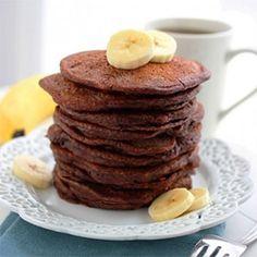 Fluffy Chocolate Banana Pancakes
