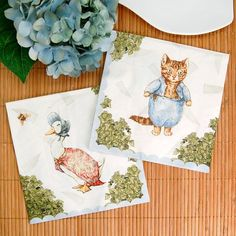 Keep clean at your garden themed baby shower with these cute paper napkins!  Napkins feature original Beatrix Potter illustrations of Jemima Puddle Duck and Peter Rabbit on a patterned background. #timelesstreasure