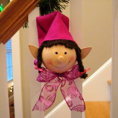 Elizabeth Elf Girl Ornament in Pink with Brown Hair Christmas Ornaments Elf… Diy Projects Handmade, Felt Crafts, Diy Crafts, Elf Decorations, Light Bulb Crafts, Painted Light Bulbs, Holiday Gift Tags, Painted Ornaments, Diy Christmas Ornaments