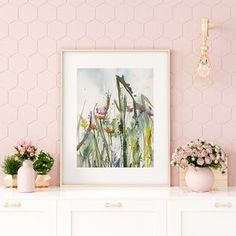 Wildflowers print set of two painted in watercolor, Farmhouse decor, Original art, wildflower meadow art, Botanical prints of grasses