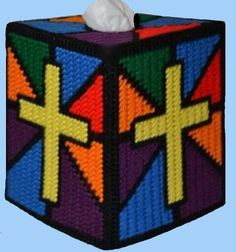 STAINED GLASS Tissue Box Cover With Cross - Inspirational - Needlepoint on Plastic Canvas