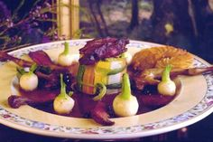 Chartreuse of Squab with Confit Cabbage, Baby Turnips, Anna Potatoes, and Juniper Berry Juice by Jean Banchet
