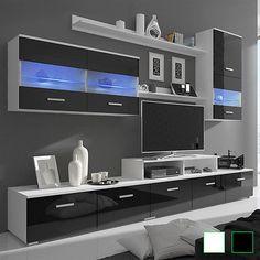 Hochglanz Wohnwand Mediawand Anbauwand LED TV Wand Schrankwand  Weiß/schwarzIhr QuickBerater