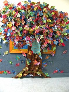 "West Elementary School says: ""Look at the gilded tree outside the art room... soon it will be dripping with gorgeous, glittering self-portrait leaves from all our talented West artists! Artists will take inspiration from Austrian artists: Klimt and Hundertwasser."